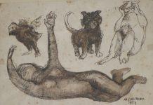 Grasmann-Mulher-com-tres-bichinhos-Desenho1