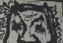 Monstro-Gravura-assinado-1952-desconhecido